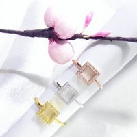 Square Band Ring Cz 925 Silver Yellow Rose Gold, Silver