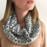 Ladies Knitted Lambswool Snood With Geometric Triangles