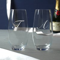 Pair Of Glass Stemless Champagne Flutes