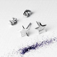 Silver Petite Star Earrings On Bespoke Gift Card, Silver