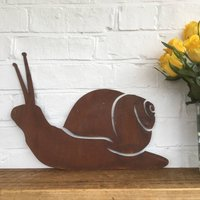 Rusted Metal Snail Silhouette Garden Sign
