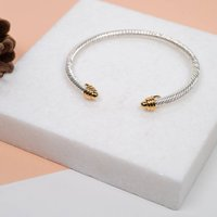 Twisted Silver And Gold Torq Bangle, Silver