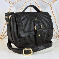 Quilted Black Saddle Bag