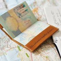 World Map Passport Holder Wedding Gift Set, Tan/Apple Green/Green