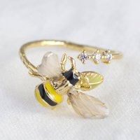 Adjustable Bumblebee And Crystal Ring
