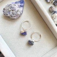 Sapphire September Birthstone Hoop Earrings