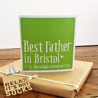 Personalised Best Dad/Daddy/Father Card, Turquoise/Lime/Orange