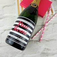 New Home Personalised Champagne/Prosecco Label, Pink/Blue
