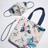 Floral Cotton Face Mask And Shoulder Bag Set