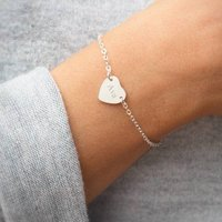 Personalised Silver Initial Heart Bracelet, Silver