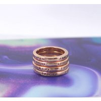 Rose Gold Inspirational Word Stacking Ring Set, Gold