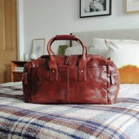 Large Leather Travel Bag With Pocket, Tan