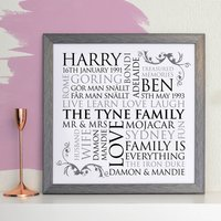 Personalised Square Family Word Art Print, Black/Grey/Blue