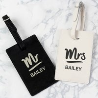 Personalised Mr And Mrs Leather Luggage Tag Set