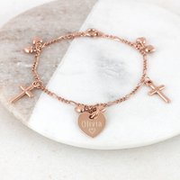 Personalised Rose Gold Christening Charm Bracelet, Gold