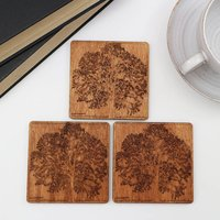 Wooden Drinks Coasters With Tree Design, Set Of Four