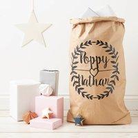 Personalised Wedding Gift Sack, White/Brown/Black