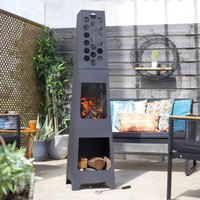 Honeycomb Chiminea With Wood Store