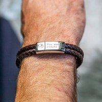 Men's Personalised 'Player1' Leather Bracelet