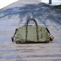 Genuine Leather Canvas Classic Holdall Personalised Bag, Green