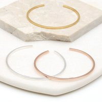 Sterling Silver Or 18ct Gold Slim Open Bangle, Silver