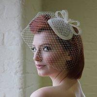 Vintage Style Bridal Headpiece, Ivory/Navy/Peach