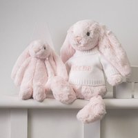 Personalised Pale Pink Bashful Bunny Soft Toy