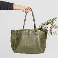 Olive Soft Leather Lined Tote Handbag