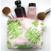 Small Handmade Monstera Pink Grid Make Up Bag