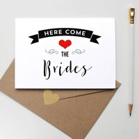 Here Come The Brides Wedding Card