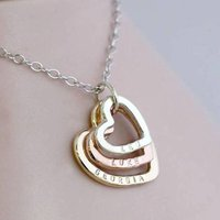 Personalised 9ct Mixed Gold Family Names Heart Necklace, Gold