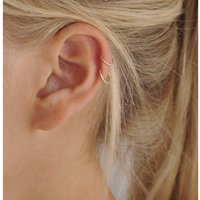 18ct Gold Small Cartilage Helix Earring Hoops 6mm, Gold