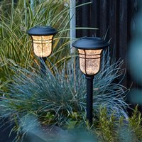 Set Of Two Crackle Glass Stake Lights