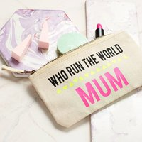 Personalised 'Who Runs The World' Make Up Bag, Black/Cream