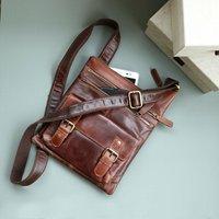 Leather Cross Body Pocket Messenger Bag