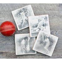 Set Of Four Ceramic Cricket Coasters