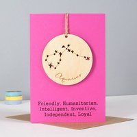 Personalised Horoscope Keepsake Birthday Card, Grey/Aqua/Forest Green