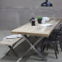 Xavier Reclaimed Wood Dining Table With Steel X Frame, Black/White/Grey