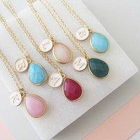 Gemstone And Initial Necklace, Mint/Jade/Champagne