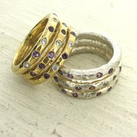Gold Diamond And Gemstone Three Band Ring, Gold