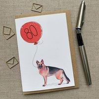 Personalised German Shepherd 80th Birthday Card