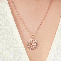 Temple Flower Necklace For Life In Silver, Gold, Rose, Silver
