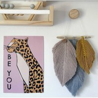 'Iris' Macrame Feather Wall Hanging