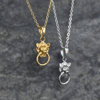 Mini Lion Head Knocker Necklace Sterling Silver Or Gold, Silver