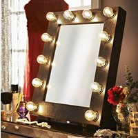 Faux Leather Broadway Hollywood Mirror, Black/Indigo/Blue