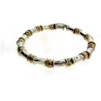 Gold Vermeil And Silver Beaten Bead Bracelet, Silver