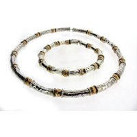 Gold Vermeil And Silver Beaten Bead Necklace, Silver