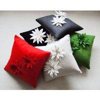 Lily Felt Flower Cushion, Red/Green/Cream