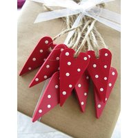 Hand Painted Heart Decorations, Red/Purple/Apple Green