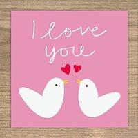 Love Birds Card, Pink/Baby Blue/Blue